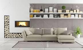 moderne wohnzimmer mit kamin sofa und regale mit bücher und objekte rendering