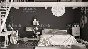 skandinavische minimalistische loft schlafzimmer mit homeoffice dunkle schwarze wände klassische innenarchitektur stockfoto und mehr bilder