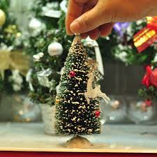 Christmas Decorations Mini Deer Tree Cute Cedar Desktop Home Window Decoration Gift 15CM