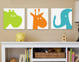 Animal Head Canvas Wall Art Nursery Items Similar To Zoo Esy Safari Elephant Giraffe Hippo Pig Wallpaper Behind Cream White