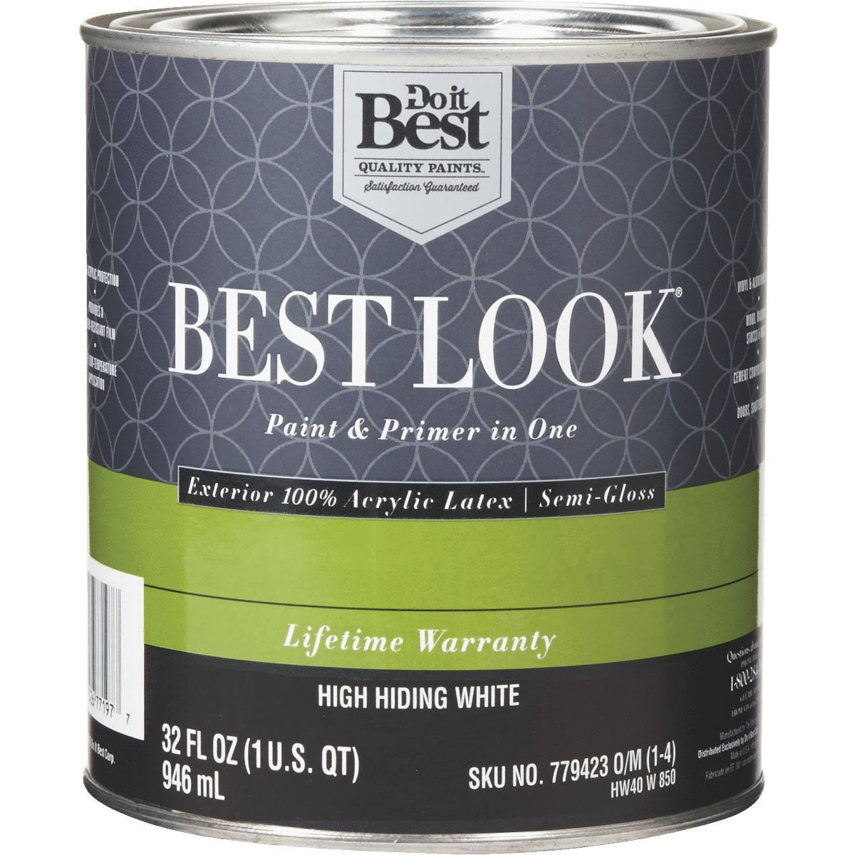 - HW40W0850-14 Best Look 100% Acrylic Latex Paint & Primer in One Semi-Gloss Exterior House Paint