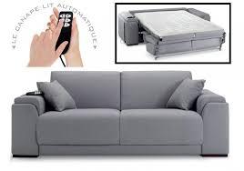 canapé convertible electrique canapé 140 cm etoile tissu tweed gris clair ouverture rapido
