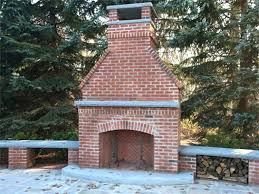 Outdoor Brick Fireplace Plans Cool Building How To Build An With