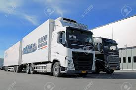 LIETO, FINLAND - APRIL 5, 2014 Volvo Trucks Presents The New.. Stock ...