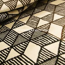 Sheer Curtain Fabric Crossword by Geometric Triangles Cream Brown Black Colour Velvet Upholstery