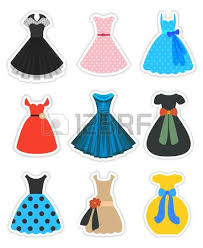 Retro Dresses Set Fashion 1950s Vector Stickers Isolated On White Part 1 Of