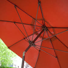 9 Ft Patio Umbrellas With Tilt by 9 Ft Push Button Tilt Patio Umbrella With Rust Red Orange Shade