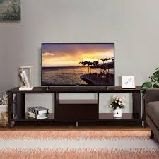 Tangkula TV Stand Home Living Room Modern Wood Entertainment Media Center Storage Console WDrawer And Display Shelf TV Cabinet Espresso Stand