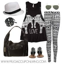 frugal fashion friday aztec leggings and elephant tank top