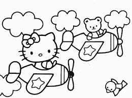 Friends And Hello Kitty Coloring Pages Airplane