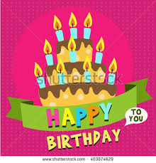 Happy Birthday card design template with image of birthday cakes and candle