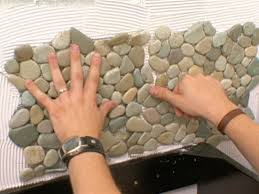 Tiling Inside Corners Backsplash by How To Apply Pebble Tile On A Wall How Tos Diy