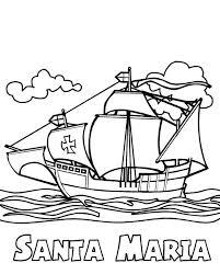 Columbus Fleet Santa Maria On Day Coloring Page