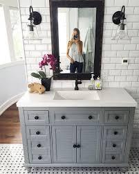 Bathroom Vanity Light Fixtures Pinterest by Best 25 Gray Vanity Ideas On Pinterest Farmhouse Kids Mirrors