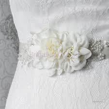 handmade flower pearl beaded bridal sash