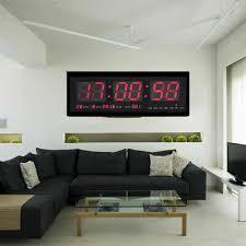 led digitaluhr große wohnzimmer digital wanduhr mit datum temperatur kalender ebay
