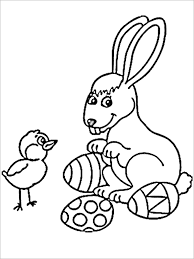 This Beautiful Religious Easter Coloring Page Has A Lovely Small Chick Looking Curiously At The Grown Up Bunny Which Is Sitting Between Two Well Decorated