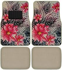 Peacock Flowers Car Truck SUV Universal Fit Front Rear Seat Carpet Floor Mats