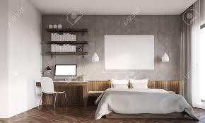 frontansicht des schlafzimmer in der großen stadt master bett mit horizontaler plakat computer auf dem schreibtisch bookshelves 3d rendering