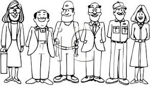 People Working Clipart Black White
