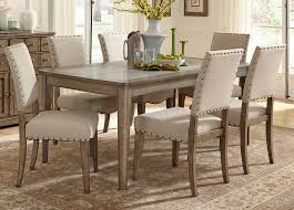 100 Birch Dining Chairs Rectangle Leg Table With Solids Poplar Weathered Gray Finish