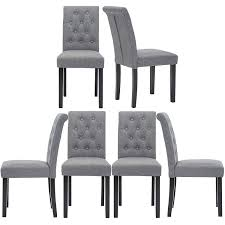 Amazon.com - Set Of 6 Upholstered Fabric Dining Chairs With Button ... Ding Chair Black Leather Kitchen Chairs Buy Fabric White And Room Sets Amazoncom Set Of 2 Modern Upholstered Naples Grey Vintage Pack Two Modish Synnes Black Rouse Home Ashford X Canterbury Lvet Fabric Ding Room Chairs Scroll Top High Back Reed Farmhouse Bri Metal Frame With Arms Colt Low Back Armchair O G Studio 4 Matching Satina With Stud Detail 82 Off Macys Patterned
