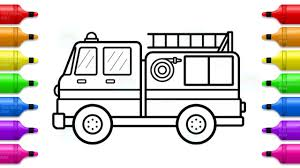 100 Fire Truck Drawing Truck Coloring With Markers How To Draw And Paint