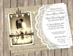 Wedding Invitations With Real Burlap And Lace Plumegiant Diy Rustic Vintage