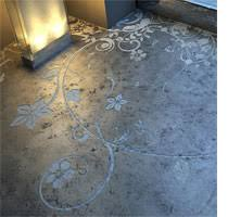 BELOW Delicate Swirling Motifs Are Etched Into A Concrete Screed Floor The Contrast Between Graceful Design And Raw Make It Suitable For