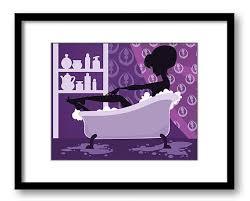 INSTANT DOWNLOAD Purple Bathroom Girl In Bathtub Bath Tub Printable Print Art Wall Decor Modern Silhouette