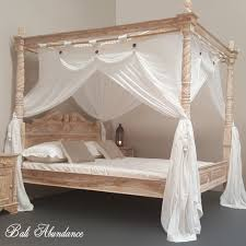 Four Poster Bed Hand Carved Teak CLASSIC in WHITEWASH – Bali Abundance