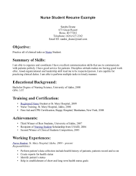 Student Nurse Resume Examples Of Resumes Graduate Templates