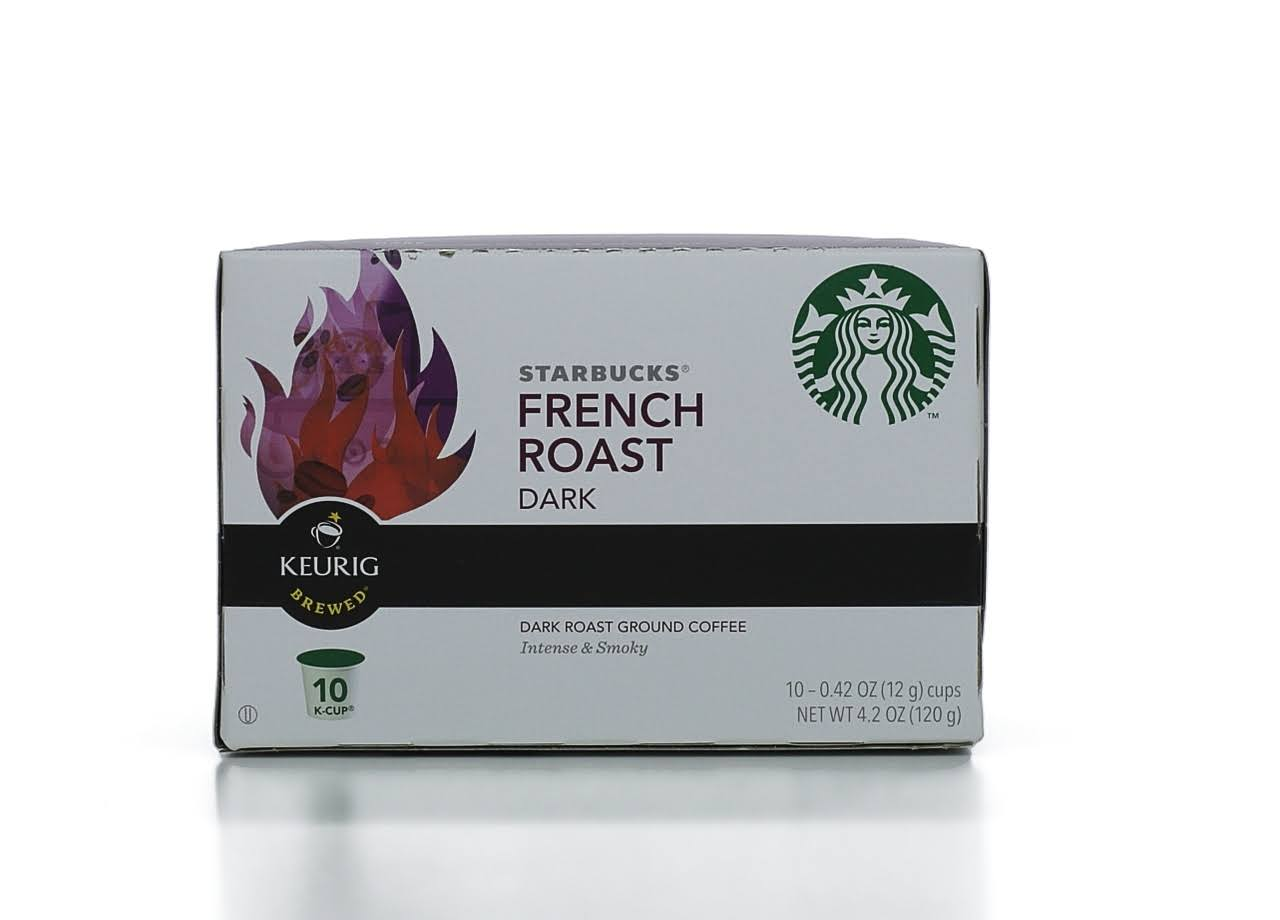 Starbucks Keurig Hot French Roast Dark Ground Coffee K-Cup Pods - 10ct