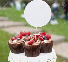 Beautiful Cupcakes With Berries And Chocolate Cream On Banquet Table Sweet Cakes Emty Label