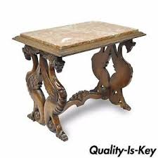 antique carved walnut figural winged griffin marble top table rj