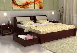 King Size Double Bed Online With Headboard Storage