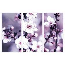 Abstract Purple Sakura Cherry Blossom Framed Wall Art Print Set 3 Piece