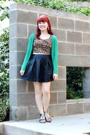 Leopard Crop Top Leather Skater Skirt A Green Cardigan