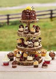 4 Tier Rustic Wood Slice Cupcake Stand