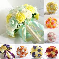 High Quality Wedding Bridal Bouquet With Pearls Beading Colors