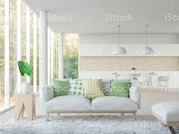 moderne wohnzimmer und esszimmer 3d rendering schwarzweißbild stockfoto und mehr bilder architektur