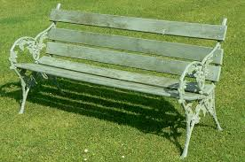 furniture garden bench on green grass for decorate outdoor patio