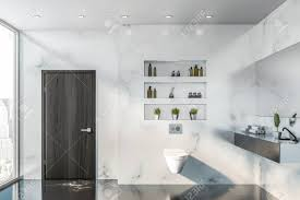 100 Marble Walls Interior Of Stylish Bathroom With White Marble Walls Black Marble