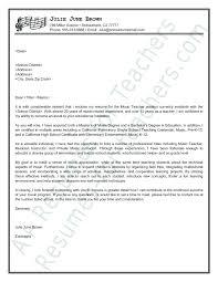 Sample Music Teacher Cover Letter Teaching Resume Elementary Samples