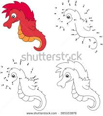 Cartoon Sea Horse Coloring Book And Dot To Educational Game For Kids