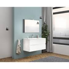 badezimmer badmöbel 100 cm boston aus glänzend weiß holz mit keramik waschtisch