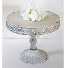 Cake Stand Rustic Chic Antique White Cream Metal Vintage Look Party Or Wedding