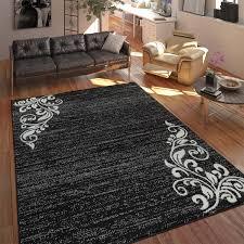 details zu teppich wohnzimmer modern kurzflor mehrfarbig muster floral ornament schwarz
