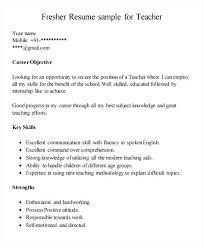 Resume Format Teacher Fresher Primary India