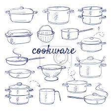 gekritzel set küchen kochware metall topf kocher zum kochen poster myloview